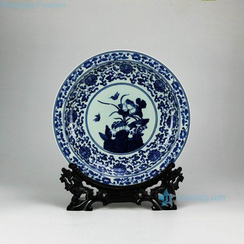 Hand paint Jingdezhen traditional lotus bird pattern ceramic decor tray