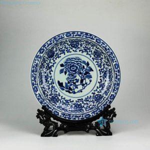 RYXC31-D RYXC31-D Peony flower pattern hand paint cobalt blue salad platter