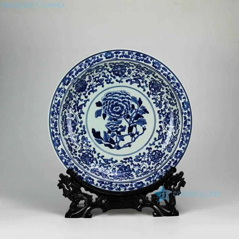RYXC31-D Peony flower pattern hand paint cobalt blue salad platter