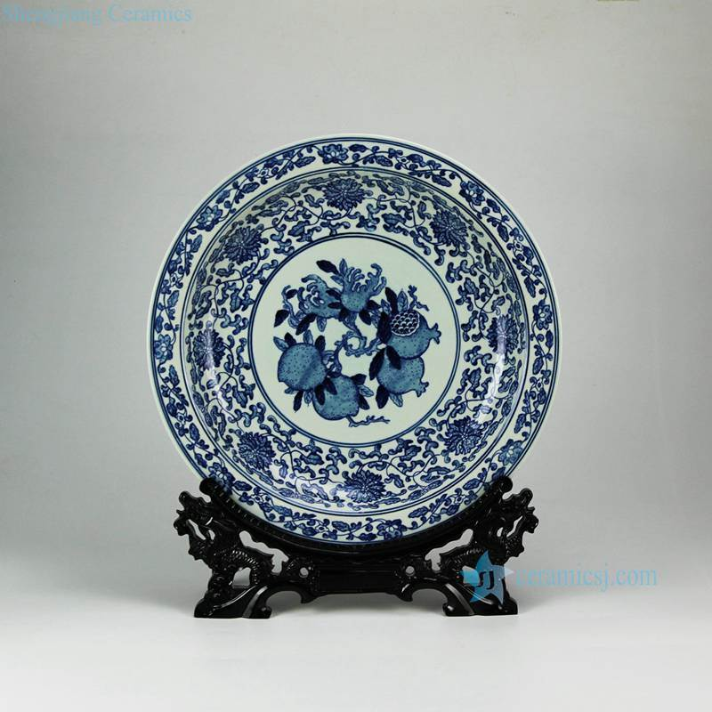China hand paint pomegranate The more sons the more blessings moral porcelain fruit holder plate
