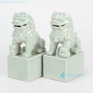 RYXP02-e Celadon cream light green color fairy ancient porcelain lions display sculpture