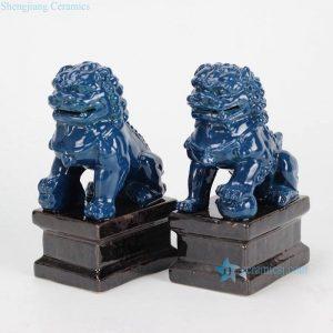 RYXP02-g Fluid glaze dark blue oriental porcelain lion figurine
