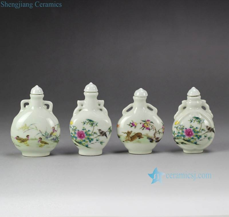 Forest animals pattern cute small ceramic jar