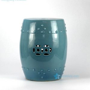 RYYV01-B Green blue color small crackle glaze ceramic veranda stool