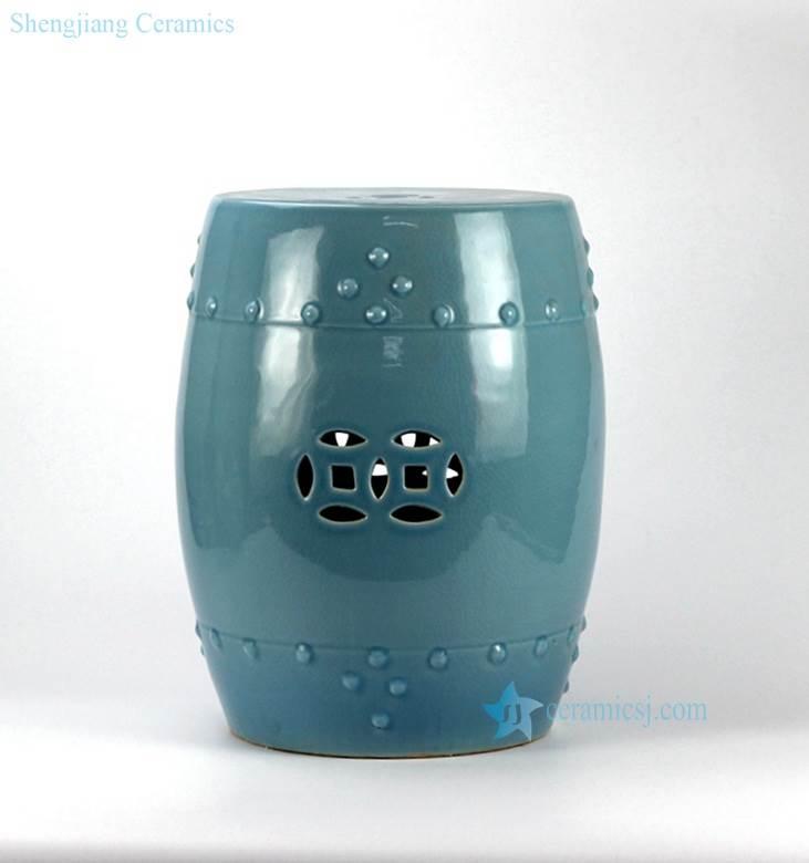 Green blue color small crackle glaze ceramic veranda stool