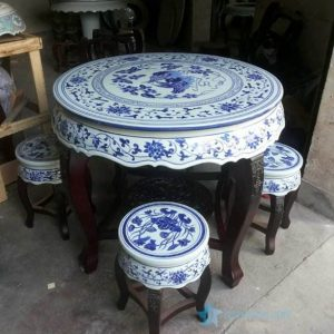 RYYZ12 Hand paint Chinese mandarin couple ducks and lotus pattern wood and ceramic mixed style table and stool