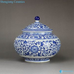 RZBG03-B Japanese style connoisseur collection hand paint cornflower pattern porcelain tea jar