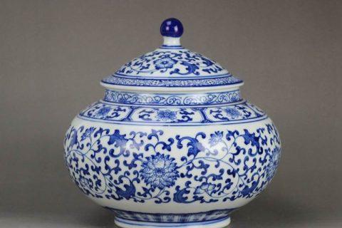 RZBG03-B Japanese style connoisseur collection hand paint cornflower pattern porcelain tea jar