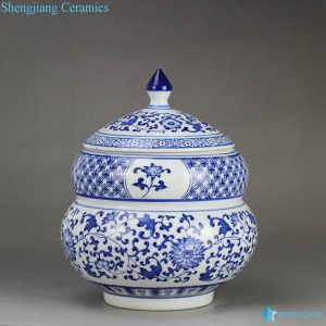 RZBG07-B Round belly calabash design Japan style blue and white hand paint porcelain candle jar
