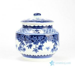 RZBV03 Butterfly loves the flower pattern traditional style home porcelain cookie jar