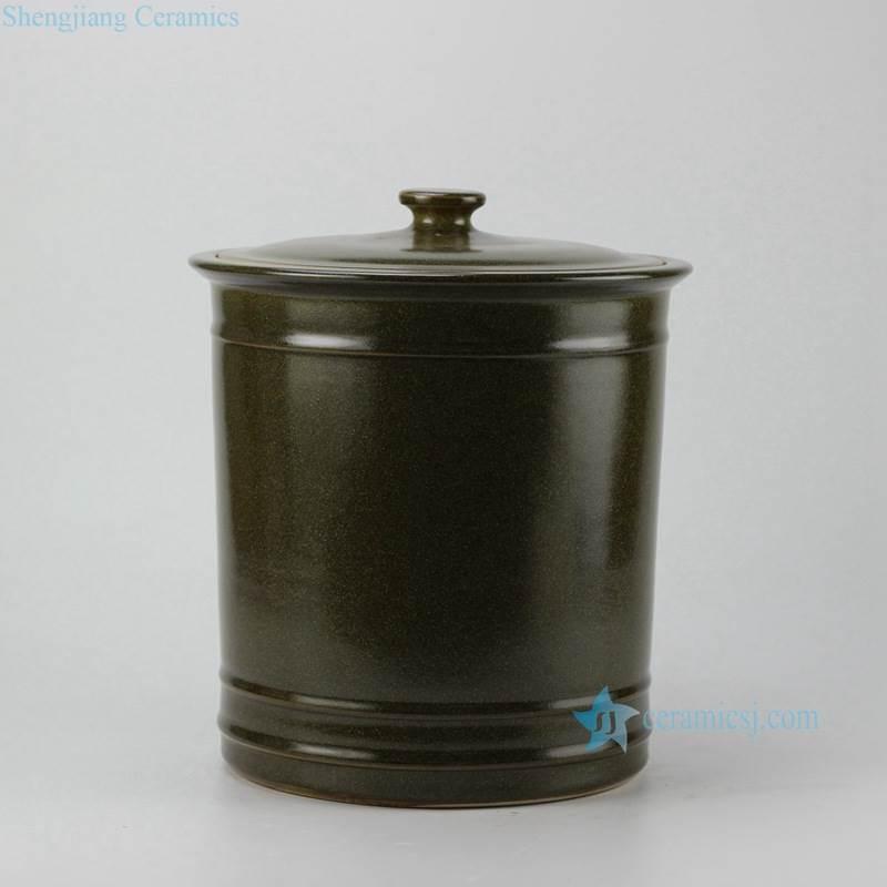 Tea dust glaze large ceramic storage jar