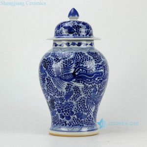 RZCM05-B Blue and white hand paint phoenix pattern ceramic interior design jar