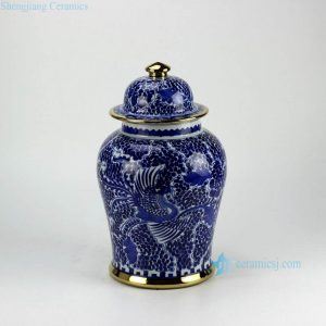 RZCM05-GOLD Golden line pleated hand paint phoenix pattern gallery display high quality ceramic jar