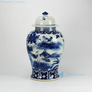 RZFZ02-B Asian furniture home decor blue and white hand paint crane porcelain storage jar