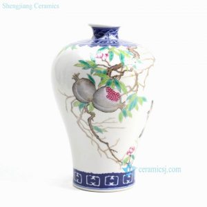 RZGU02 China art hand paint pomegranate pattern porcelain flower vase