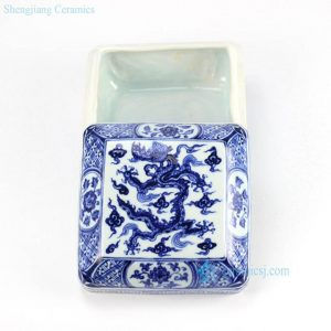 RZHL05 hand paint Ming Dynasty blue and white box shape sundries container