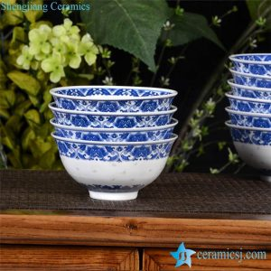 RZHX01-B Blue and white Asian rustic home style floral lacework hand carving transparent rice pattern porcelain lunch bowl