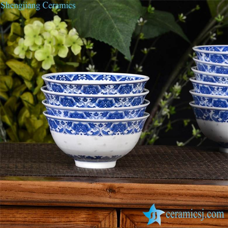 Blue and white Asian rustic home style floral lacework hand carving transparent rice pattern porcelain lunch bowl