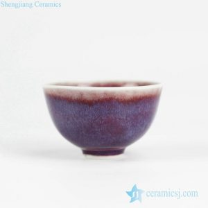 2L15 Transitional glaze red background purple shadow polar lights style pottery tea cup
