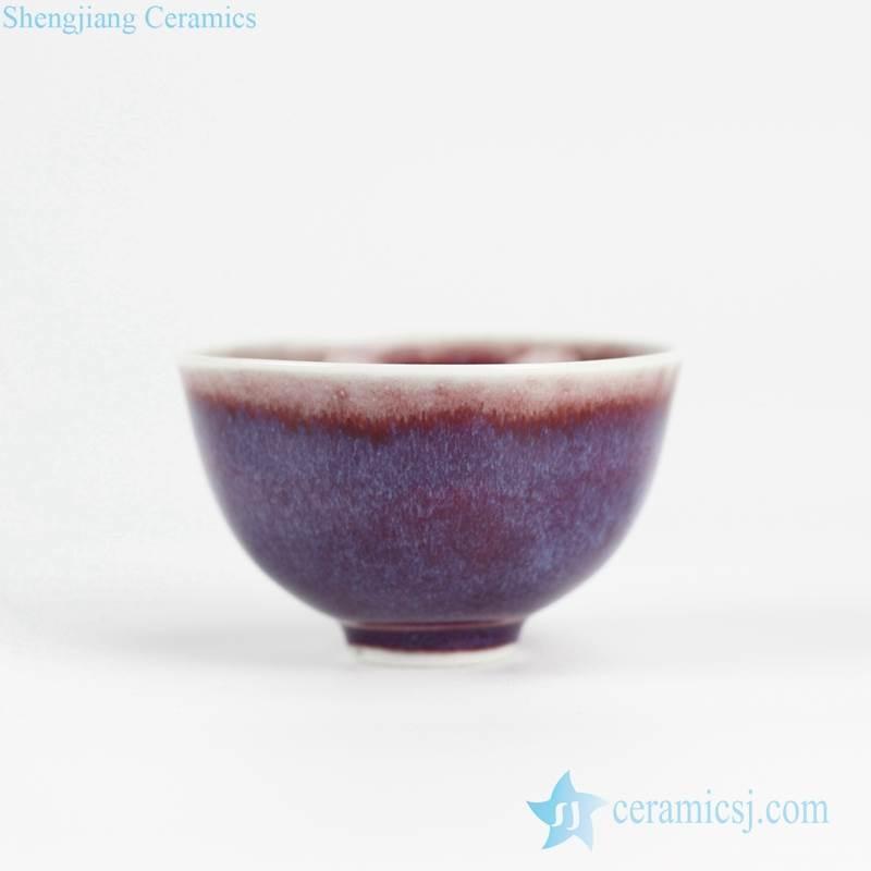 Transitional glaze red background purple shadow polar lights style pottery bowl