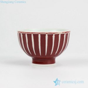 2L16 Oxblood color pleated carving style ceramic tea cup
