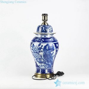 DS104-RYLU Blue and white hand paint high quality couple birds pattern wedding room porcelain night lamp