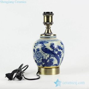 DS106-RZFZ06-A Retailer online distribution brass base and bulb holder blue and white hand paint bird floral pattern China traditional porcelain lamp