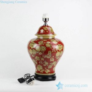 DS90-RYPU42 Middle East Fashion red color yellow flower ceramic ginger jar lamp