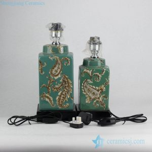 DS95-RZKQ02 Set of two green glaze fern pattern moroccan style fancy pottery table lamp