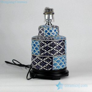 DS96-RYPU14 Fantastic blue color matching pattern crockery reading lamp