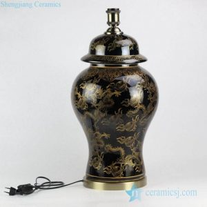DS99-RYRJ14 High class wholesale factory direct bulk sale brass base gold dragon pattern black porcelain table lamp