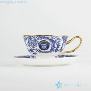 RYIJ05 Gold pleated blue and white crockery coffee tea cup with saucer