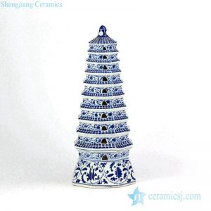RYJF65 Blue and white floral pattern new arrival Buddhism porcelain pagoda figurine
