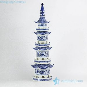 RYJF66 Online sale new design China blue and white porcelain tower figurine