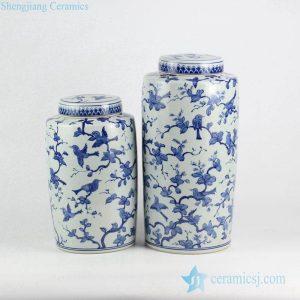 RYLU137 Bulk sale cobalt blue bird branch pattern pair of ceramic tin jar