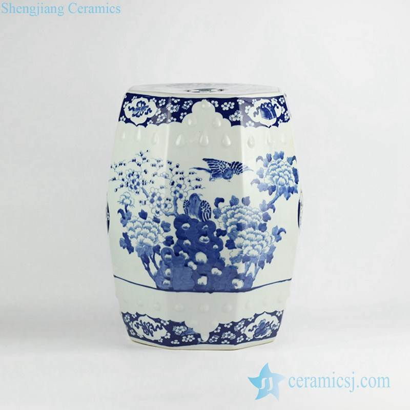 Luxury hand paint bird peony pattern blue and white ceramic ornament stool