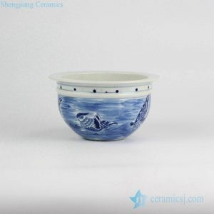 RYLU52-B Elegant blue and white mandarin couple ducks pattern small porcelain planter pot