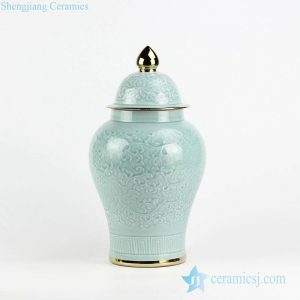 RYMA97-B Golden rim carved lotus pattern celadon glaze porcelain ginger jar
