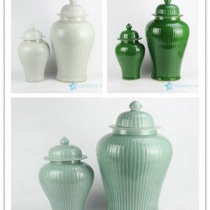 RYMA99-A/B/C Plain color bamboo joint design set of two porcelain ginger jar