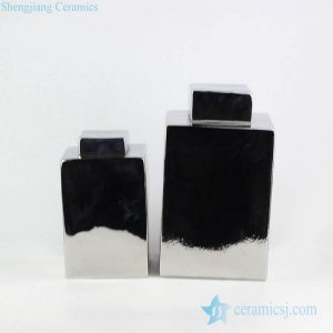 RYNQ201-A Sliver mirror surface square shape pair of ceramic storage jar