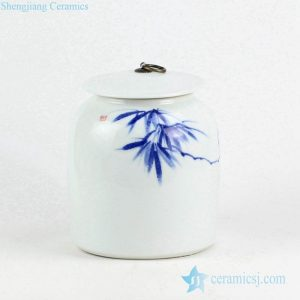 RYNQ234 Oriental hand draft bamboo pattern porcelain jar with brass ring lug