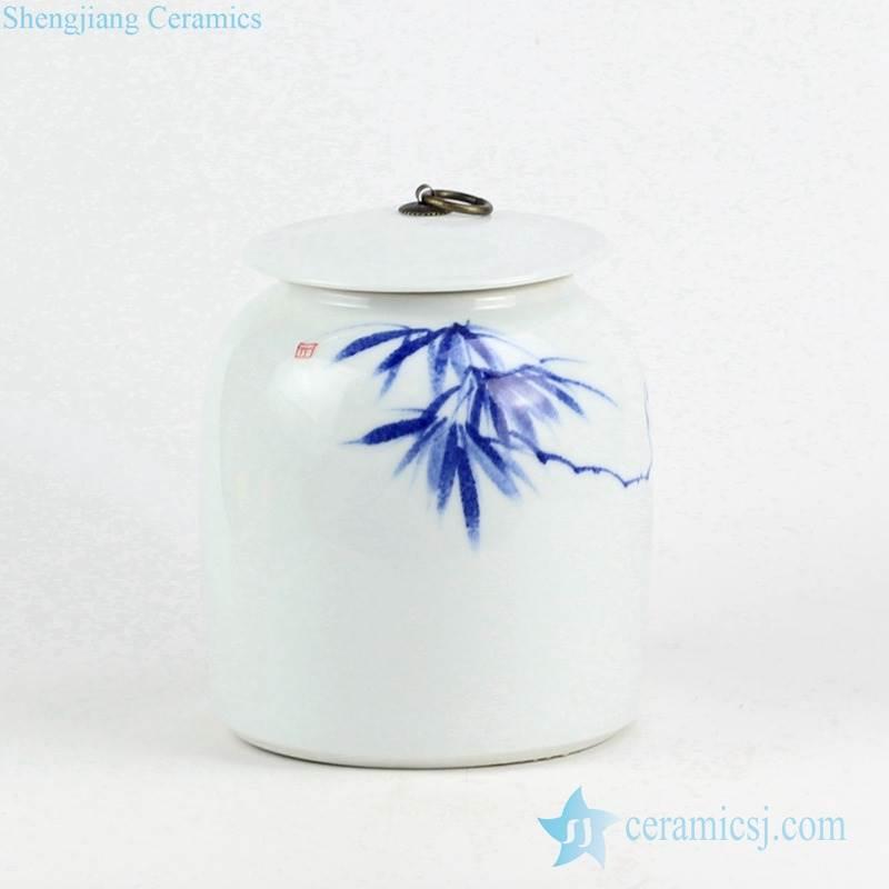 Oriental hand draft bamboo pattern porcelain jar