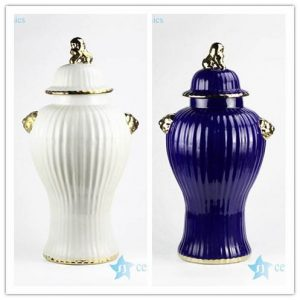 RYNQ241 RYNQ241-B Tall plain color etched porcelain jar with gold rim
