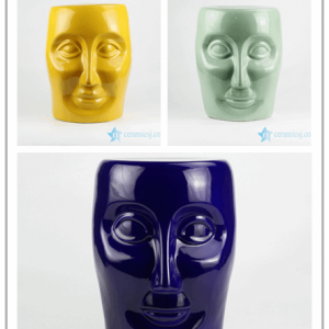 RYNQ55-C/D/F Solid color human face design ceramic art stool