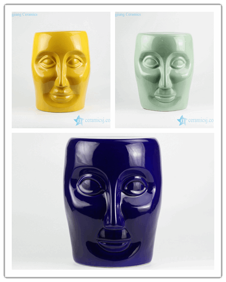 Solid color human face design ceramic bathroom stool