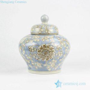 RYPU42 Corn flower pattern Moroccan style light blue porcelain jar