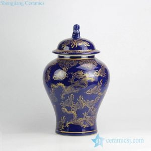 RYRJ15-B Indigo blue gold flying dragon ceramic jar