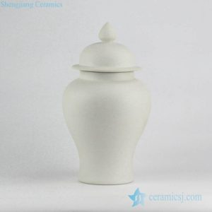RYUJ19-A Matt surface white solid color simple style porcelain ginger jar
