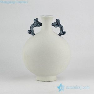 RYUJ19-C Speckle natural clay style matt white chinaware vase with blue handles