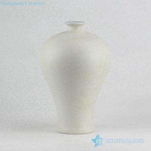 RYUJ19-F Clay style white color pottery Meiping vase